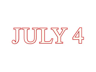 3D illustration isolated text 4 four july red and white