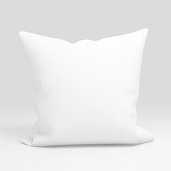 Blank white pillow case design mockup, isolated,3d illustration. Clear pillowslip cover mock up template. Bed cotton shell ready for texture, pattern. Clean empty sham.