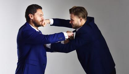Fototapeta Men wearing suits and boxing. obraz