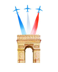 Bastille day. French National day greeting card and poster design. Hand drawn watercolor illustration with Triumphal Arch and airplanes with flag of France