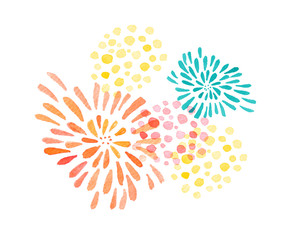 Hand drawn watercolor illustration with color stylized fireworks