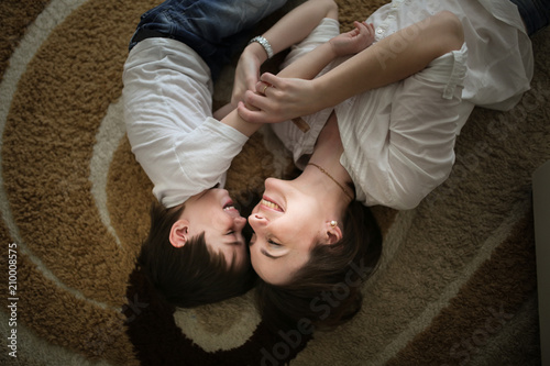 Beautiful Brunette Mom Kisses And Hugs With Son Home