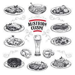 Beautiful vector hand drawn austrian cuisine Illustrations set. Detailed retro style images.