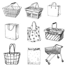 Beautiful vector hand drawn shopping cart, bag and basket set Illustrations.