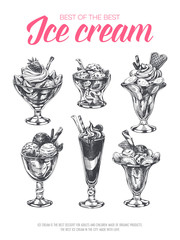 Beautiful vector hand ice cream in a glass Illustration.