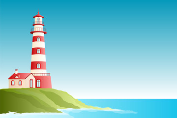 Red lighthouse and sea view - Illustration