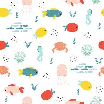Marine life seamless pattern. Cute kids print. Vector hand drawn illustration.