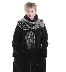 fashionable woman in a black coat and scarf.isolated on white.