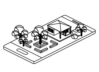smartphone with camp and building isometric vector illustration design