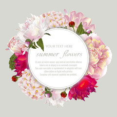 Template for greeting cards, wedding decorations, sales. Round Vector banner with summer flowers. Spring or summer design.