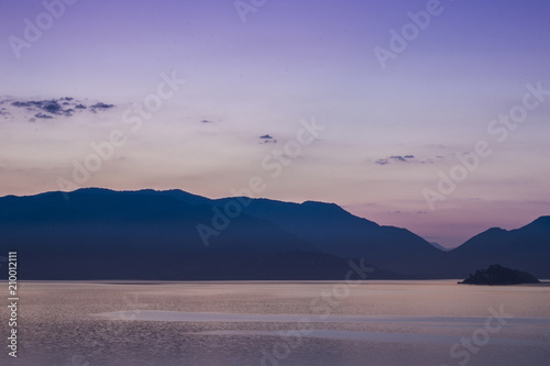 Mountains Landscape At Sunrise Cloudy Sky In Pastel Colors For