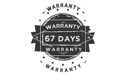 67 days warranty icon vintage rubber stamp guarantee