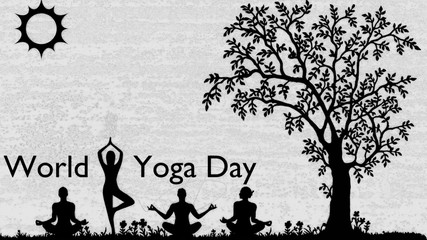 World Yoga day and black and white with treeand bireds