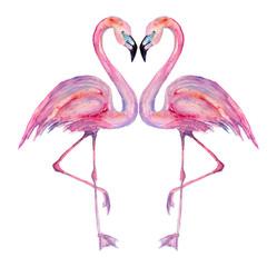 Watercolor flamingos.