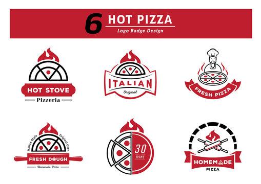 six hot pizza logo badge design set