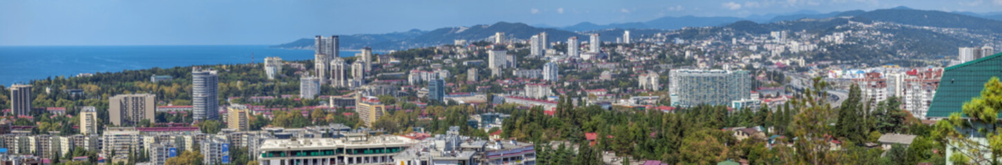SOCHI, RUSSIA - AUGUST 27, 2017: Panoramic view of the city.
