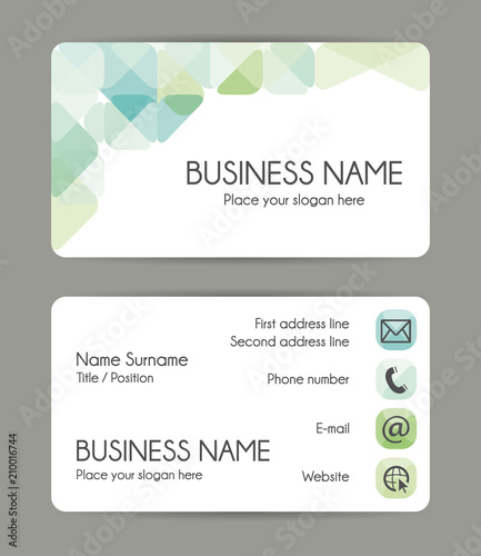 Rounded corner business card template green tones front and back rounded corner business card template green tones front and back vector set fbccfo Image collections