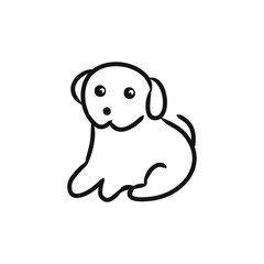 Graphic image of a puppy on a white background,