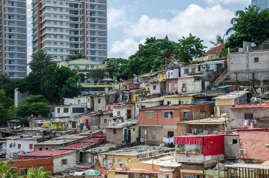 Colorful houses of the poor inhabitants of Luanda, Angola, Africa