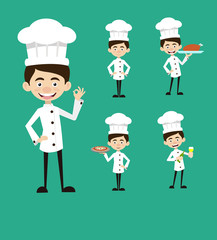 Chef Vector Illustration Design -  Set of actions