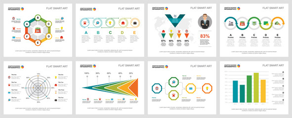 Colorful finance or research concept infographic charts set. Business design elements for presentation slide templates. Can be used for financial report, workflow layout and brochure design.