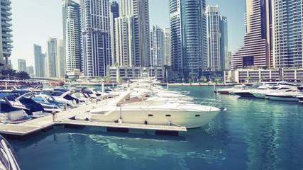 Fototapete - hyperlapse, Dubai Marina, UAE