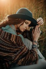 pensive girl in hat