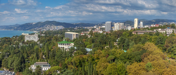 SOCHI, RUSSIA - OCTOBER 3, 2017: Panoramic view of the city.