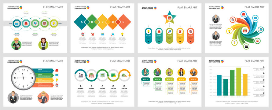 Colorful management or analysis concept infographic charts set. Business design elements for presentation slide templates. For corporate report, advertising, leaflet layout and poster design.