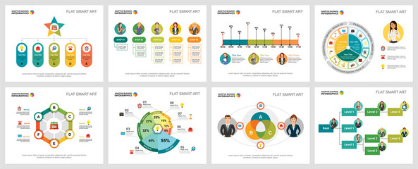 Colorful management or statistics concept infographic charts set. Business design elements for presentation slide templates. Can be used for financial report, workflow layout and brochure design.