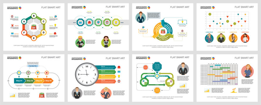 Colorful management or planning concept infographic charts set. Business design elements for presentation slide templates. For corporate report, advertising, leaflet layout and poster design.