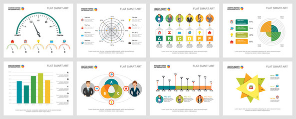 Colorful statistics or banking concept infographic charts set. Business design elements for presentation slide templates. For corporate report, advertising, leaflet layout and poster design.