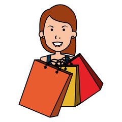 woman with shoppings bags vector illustration design