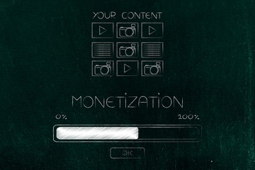 your digital content with Monetization caption and progress bar loading