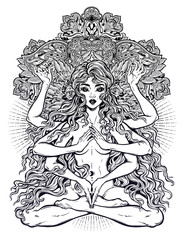Pagan magic occult many armed goddess girl in lotus position with long hair, six hands and mandala.