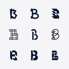 Letter B Alphabet Logo Set