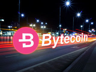 Concept of Bytecoin moving fast  on the road, a Cryptocurrency blockchain platform , Digital money