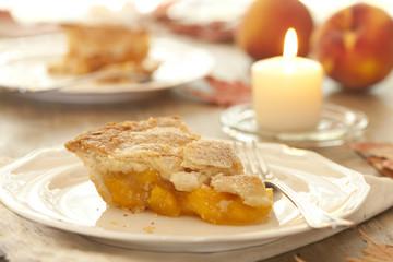 Slice of Fresh Peach Pie