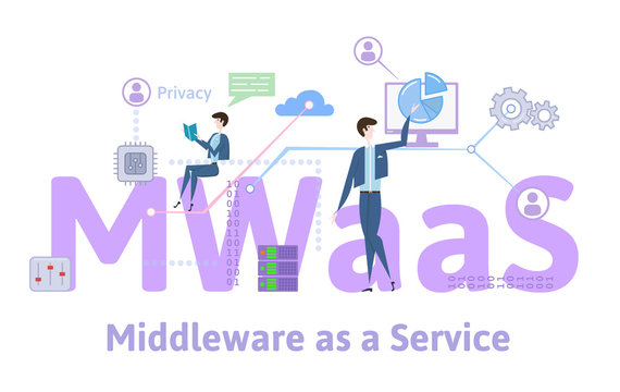 MWaaS, Middleware as a service. Concept with keywords, letters and icons. Colored flat vector illustration on white background.