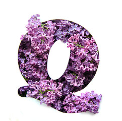 The letter Q of the English alphabet from lilac
