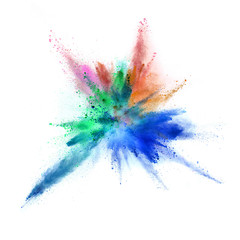 Explosion of coloured powder on white background