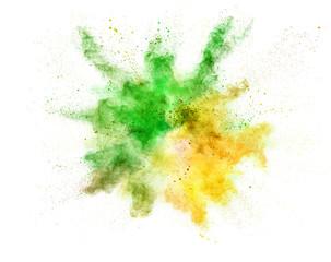 Fototapete - Explosion of coloured powder on white background