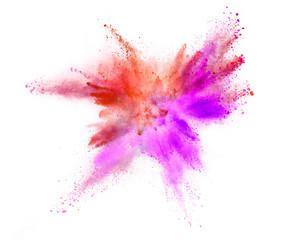 Explosion of coloured powder on white background