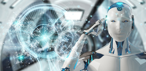 White male cyborg creating artificial intelligence 3D rendering