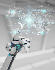 White humanoid hand using digital globe hud interface 3D rendering