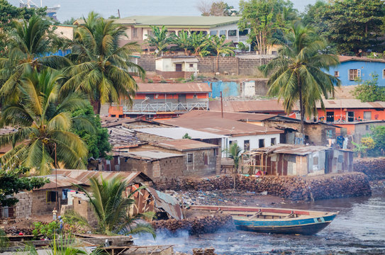 View over slums of Freetown at the sea where the poor inhabitants of this African capital city live, Sierra Leone