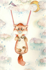 Cartoon watercolor fox