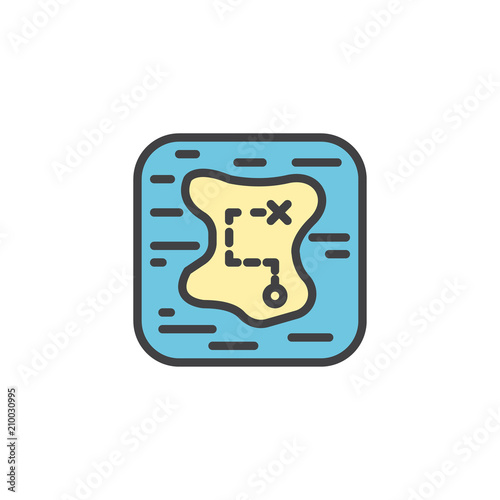 Treasure Map Filled Outline Icon Line Vector Sign Linear Colorful