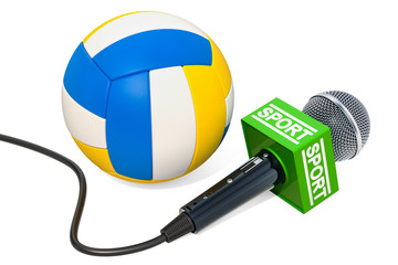 Volleyball News concept. Microphone sport news with volleyball ball, 3D rendering