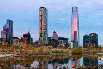 Skyline of Financial District in Las Condes from Bicentennial park in Vitacura, Santiago de Chile, South America